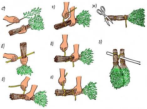 Как вязать веник для походной бани