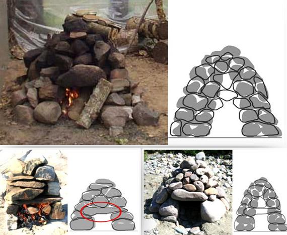 Печь из камней в походной бане