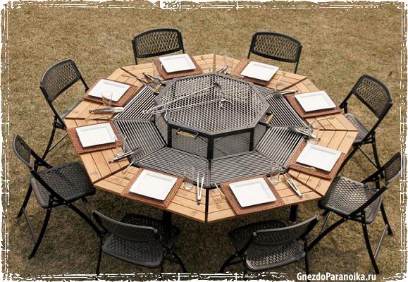 Обеденный стол - барбекю на дачу